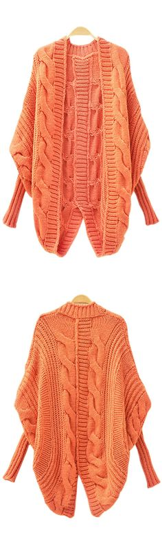 I love this orange sweater cardigan with classic batwing-sleeve. Looks chic, but also comfy!!