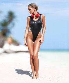 Sexy one piece thong swimsuit Monokini Black bathing suit High cut leg sport bodysuit Cute womens swimwear Exotic open back dancewear 2019 Mädchen In Bikinis, Monokini Swimsuits, Swimwear, Fringe Bikinis, Sexy Bikini, Bikini Girls, Black Monokini, Surfer Girl Style, Jolie Lingerie