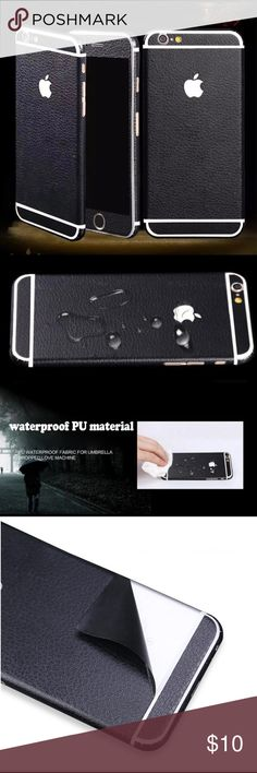 Full cover Waterproof leather glitter decal 6+/6s+ Waterproof leather glitter decal i6+/6s+ Full body cover phone skin made of special PU waterproof material Brand new Compatible size: iPhone 6 Plus / 6s Plus Color: Black Accessories