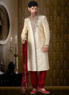 Beige Brocade jacquard Collar Style Sherwani