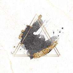 gold glitter background Gold triangle frame on black watercolor background vector Gold Glitter Background, Floral Logo, Instagram Highlight Icons, Background Templates, Watercolor Background, Gold Watercolor, Wallpaper Backgrounds, Triangle, Logo Design
