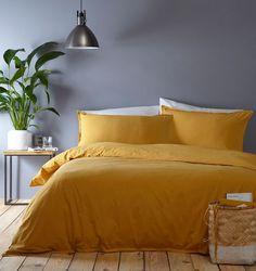 Home Collection Basics Yellow washed cotton plain dye bedding set Bedding Sets Online, King Comforter Sets, Room Color Schemes, Room Colors, Home Bedroom, Bedroom Decor, Bedroom Ideas, Yellow Comforter, Bed Linen Design