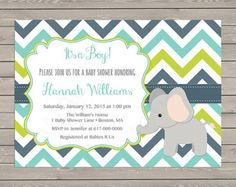 SALE Elephant Baby Blue Shower Invitation by LuxePartySupply