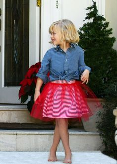 Regan Reversible Red and White Stripe Reversible Tutu Skirt