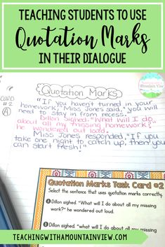 Teaching Quotation Marks and Dialogue Teaching Narrative Writing, Writing Traits, 5th Grade Writing, Informational Writing, Student Teaching, Writing Workshop, Grammar Lessons, Writing Lessons, Writing Ideas