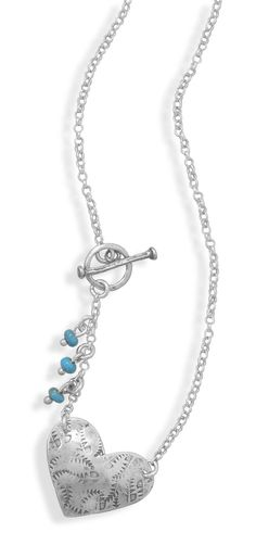 """17"""" Heart Toggle Necklace with Turquoise Beads"""