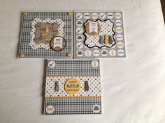 """3 cards using Craftwork cards """"suits you sir' papers."""