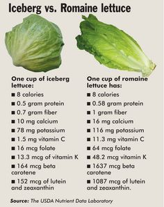 Iceberg lettuce has no nutritional values, its all water mainly. Romaine has a lot of fiber, I have not ever liked iceberg lettuce, it made me think I was eating water, I just don't like the stuff. Its romaine for me. Nutrition Chart, Nutrition Tips, Health And Nutrition, Health Tips, Health Benefits, Nutrition Activities, Milk Nutrition, Nutrition Month, Nutrition Classes