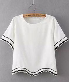 White Short Sleeve Peplum Trims Crop T-Shirt 12.83