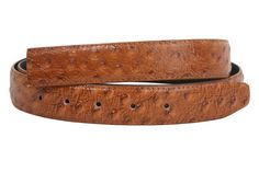 1 1/8 Inch Clamp On One Size Fits All Feather Edged Ostrich Print Patent Faux Leather Belt Strap