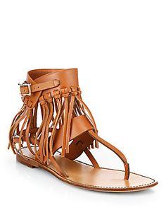 Valentino C-Rockee Leather Fringe Thong Sandals