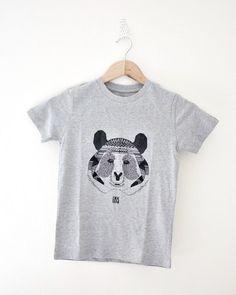 T-shirt enfant, Léon le panda / Coton BIO / Coupe garçon - Boy t-shirt