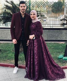 Sweet couple and that dress and lipstick look great too! Muslim Prom Dress, Hijab Prom Dress, Muslim Wedding Gown, Muslimah Wedding Dress, Hijab Evening Dress, Nikkah Dress, Hijab Wedding Dresses, Princess Prom Dresses, Backless Prom Dresses