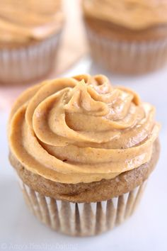 Maple Cupcakes with Pumpkin Pie Frosting -- that creamy frosting is the BEST! And it's made from Greek yogurt!