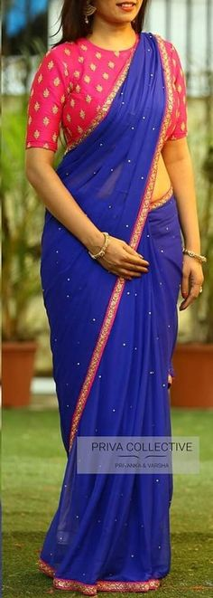 blue coloured peral embroidered georgette saree with contrast embroidery pink blouse fabric Kids Blouse Designs, Silk Saree Blouse Designs, Sari Blouse, Blouse Patterns, Plain Georgette Saree, Georgette Saree Party Wear, Plain Saree, Handloom Saree, Fancy Sarees Party Wear