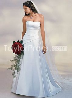[Plain A-Line/Princess Strapless Court Train Satin Wedding Dress