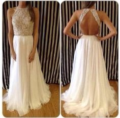 Backless Prom Dresses White Jewel Sexy Long Prom by DressOnly, $129.00