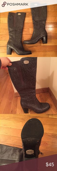 UGG Gray textured heeled boots Amazing UGG boots, worn once or twice. Gray textured leather, inside zip, look great with dresses or tight jeans. 16 inches high, 3 inch heel. UGG Shoes Heeled Boots