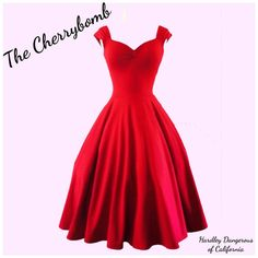 Achieve pin up perfection with The Cherrybomb capped sleeve dress! This lovely Fit n Flare swing dress is sewn from designer weight cotton lycra