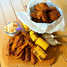 Hubby's pre-birthday meal - #jamie 'Fried' Chicken with sweet potato wedges, slaw & corn #glutenfree version #gf