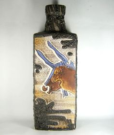 Scheurich XXL Keramik Vase / Bodenvase Serie Montignac Lava Pottery BIG 64cm RAR