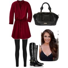 Tunic dress with leggings and riding boots