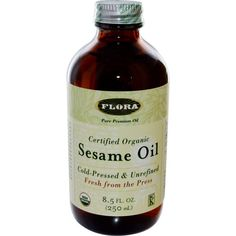 Flora, Certified Organic Sesame Oil, 8.5 fl oz (250 ml)