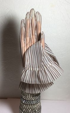 Vintage Gloves Sheer Brown Stripe by NOTABOUTNEED on Etsy