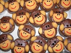 Monkey Cupcakes Nilla Cookie cut the top half off, cut in half for ears. Use brown frosting for nose. Choco chips for eyes. So all you need is red gel