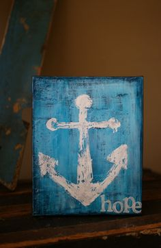 HOPE - White Anchor with Turquoise Blue Gray Background - 8X10 Mixed Media Canvas