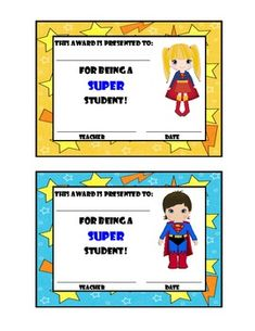 This file includes 15 different Super Hero awards. 11 boy super heroes and 4 girl super heroes.Great for a super hero theme classroom!...