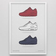 Not shoes, but celebrate them.  Air Max 90 Independence Day Pack by KickPosters.  $35.