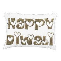 Happy Diwali Greeting Cute Hearts Typography Accent Pillow