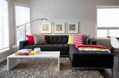 living room ideas black sofa white coffee table gray carpet colorful sofa cushions