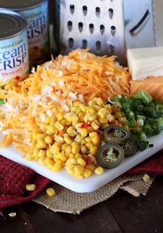 Add some spice to dinner with Cheesy Fiesta Corn Casserole ! Ready for the oven in just 10 minutes, this easy creamy corn goo. Corn Recipes, Spicy Recipes, Side Dish Recipes, Mexican Food Recipes, Cooking Recipes, Mexican Corn Casserole, Vegetable Casserole, Vegetable Dishes, Corn Dishes