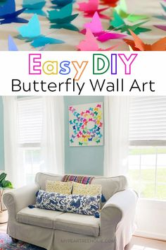Bright colors and butterflies abound in this fun DIY wall art. Make this easy DIY butterfly wall art with cardstock and tape! It's the perfect way to add some color and fun to a room on a budget. Yarn Wall Art, Big Wall Art, Diy Butterfly, Butterfly Wall Art, Rustic Wall Art, Unique Wall Art, Diy Wall Decor, Diy Home Decor, Big Canvas Prints