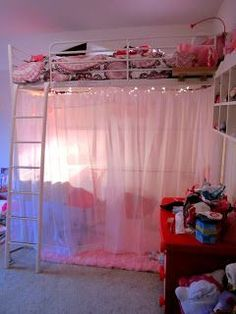 Girl Loft Bed Ideas! i want to do this but all the way from the top #teen #bedroom #ideas