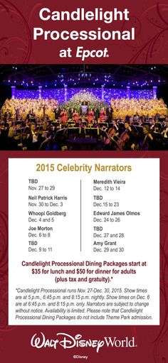 2015 Candlelight Processional Dining Packages are now available! E-mail me at Jessica.Pierce@3DTravelCompany.com to begin planning your holiday trip! #3dtc #3djessica