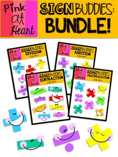 Sign Buddies BUNDLE from kac2877 from kac2877 on TeachersNotebook.com (35 pages)  - 32 bright and colorful math sign buddies!