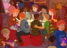 Gryffindors trying to study to upcoming O.W.L.'s