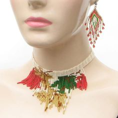 Green Red Gold Flower Egyptian Style Bead Set Pinned by @Manaro Design Jewelry | Beading | Bracelet | Necklace | Earrings