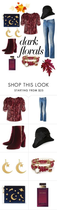 """""""#darkflorals"""" by petra-blefluf ❤ liked on Polyvore featuring Rebecca Taylor, Seven7 Jeans, Ravel, Kathy Jeanne, Alex and Ani, CHARLES & KEITH, Dolce&Gabbana and darkflorals"""