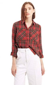Free shipping and returns on Topshop Tartan Plaid Shirt at Nordstrom.com. Bias-cut detailing enhances the heritage tartan design of a woven cotton shirt relaxed with a casual spread-collar placket and rollable long sleeves.