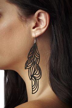 Black Suede Curved Earrings