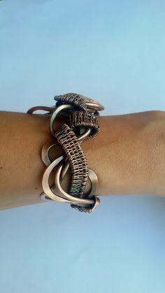 Copper wire bracelet with natural Red Line Jasper от Tangledworld