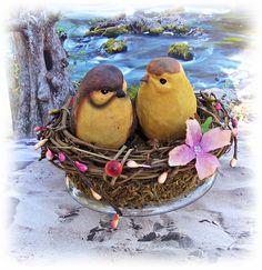 Love Birds Wedding Cake Topper Bird Nest Cake Topper by All4Brides, $50.00