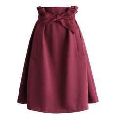 Chicwish Sassy Tie-bow Midi Skirt in Burgundy ($42) ❤ liked on Polyvore featuring skirts, red, midi skirt, burgundy skirt, burgundy midi skirt, calf length skirts and mid-calf skirt