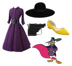 """""""Darkwing Duck"""" by anastasiawash ❤ liked on Polyvore featuring Maison Michel, Marc Fisher LTD, women's clothing, women, female, woman, misses, juniors and disneybound"""