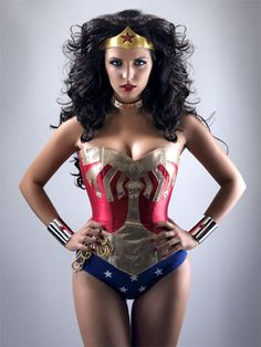 custom made wonder woman corset costume with cape by Wackyslackys. I freaking love this but $581??!! I would have to wear it everyday to make it worth it. Hmmm....I have always wanted to be a superhero....