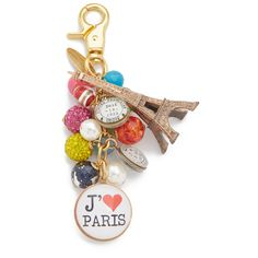 Lenora Dame Paris Bag Charm (€63) ❤ liked on Polyvore featuring jewelry, pendants, multi, bead jewellery, charm jewelry, beading charms, charm pendant and bead charms
